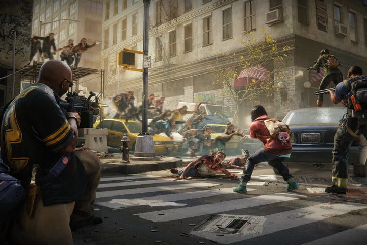 Street in World War Z game with shooter and zombies.