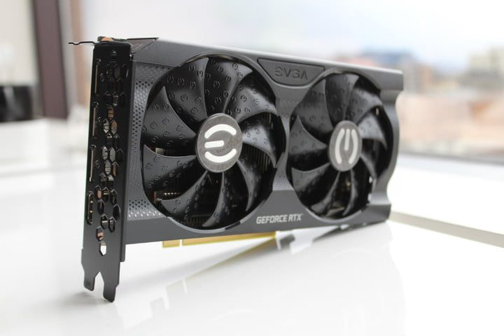 The EVGA RTX 3060 sits on the table.