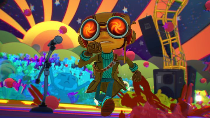Raz runs on a colorful stage in Psychonauts 2.