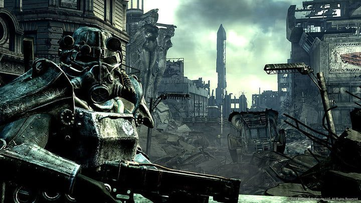 A suit of power armor in a ruined DC.