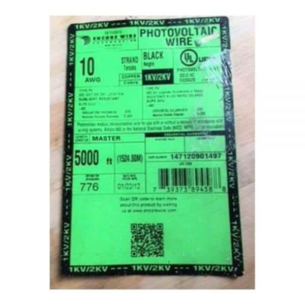 Label BULK BLACK COPPER #10 AWG SOLAR CABLE 1000V PV WIRE WITH XLPE INSULATION UL LISTED 4703