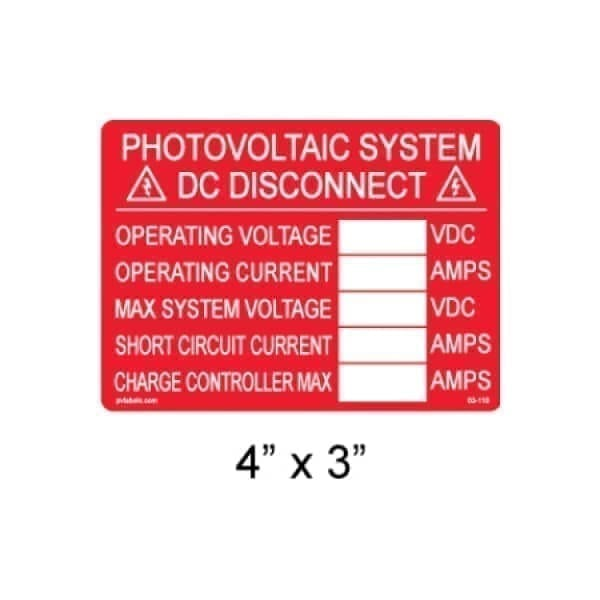 Photovoltaic system DC disconnect label