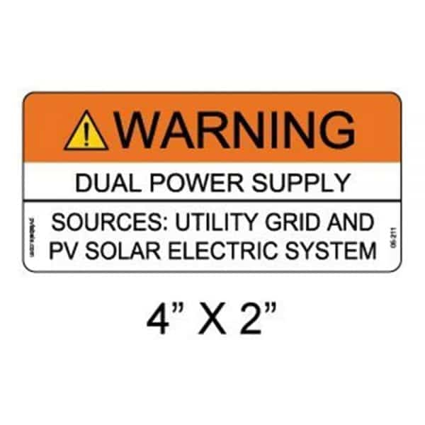 DUAL POWER SOURCE SOLAR WARNING LABELS 10 PACK