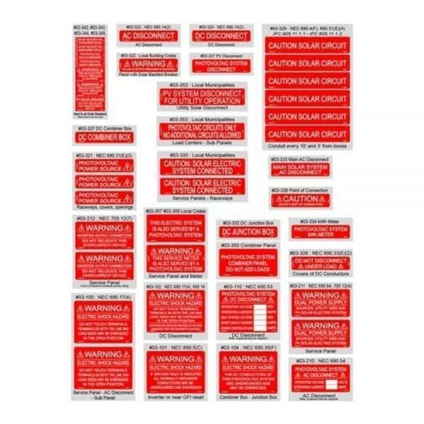 SOLAR WARNING LABELS NEC 2014 ASSORTMENT PACK OF 44