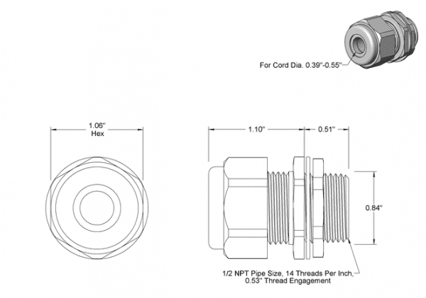 Cable Gland .39-.55